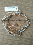 Fashion Ladies Woven Bracelet with Butterfly and Leaf Fashion Jewelry