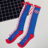 Whoesale Individuality Captain America Bowknot Tie Shoes Calf Cotton Girl′s Stockings