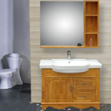 Modern Floor Mounted White PVC Bathroom Cabinet with Sink and Mirror Cabinet
