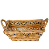 Eco-Friendly Natural Color Painting Rectangle Willow Basket with Handles