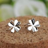 Elegant Sterling Silver Round Cut Cubic Zirconia Stud Earrings Fashion Accessory for Lady Woman