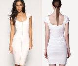 Collarless Bandage Dress with Sleeveless Dress