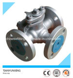 Lever 3PC Flanged Tee Three Way Cast Steel Ball Valve