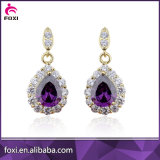Fashion Style Gold Plated Pear Gemstone Stud Earrings