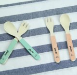 FDA Approved Bamboo Fiber Kids Spoon and Fork Set (YK-A90061)