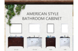Wooden American Combined Ceramic Bathroom Cabinet Mirror Hand Basin