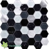 White Stone, Resin Mix Glass Mosaic (TG-OWD-567)