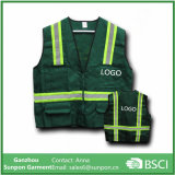 Green Colors Safety Jacket Vest with Reflective Stripes