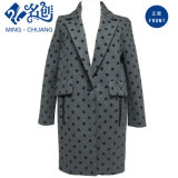 Gray with Blact-Dots Long-Sleeve Turn-Down Collar Button Warming Pockets Fashion Coat