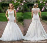 Mermaid Wedding Gown Cap Sleeves Lace Mermaid Bridal Wedding Dress L16317