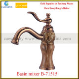 Rose Golden Brass Single Handle Basin Mixer with Jade