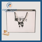 Black Boarder Matt White Paper Bag with Logo Print (CMG-MAY-034)