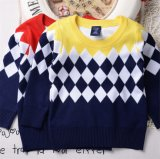 T1199 2015 High Quality Autumn 100% Cotton Thick Classical Prismatic Pattern Fashion Baby & Kids Clothes Boy Sweater Pullover Knitted Shirt