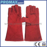 14′′ Heat Resistant Red Cow Split Leather Welding Gloves Ce Approved