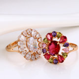Fashion Jewelry 18k Gold-Plated Delicate Ring with Many Cubic Zircons