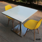 White Square Food Court Stone Dining Table Set