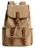 Khaki Color Washed Canvas School Leisure Outdoor Sports Travel Backpack Bag