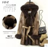 Fashion Lamb Leather and Fur Clothing Women Long Style Hooded