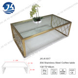 304 Gold Stainless Steel Metal Coffee Table with Tempered Glass
