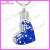 Heart Urn Crystal Surface Stainless Steel Cremation Necklace
