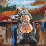 3D Metal Painting for a Man Playing Violoncello