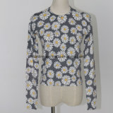 Fine Guage Ladies′ Sweater with Cute Daisy Print Pattern