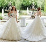 Custom Made Bridal Gowns V-Neck Lace Tulle Puffy Wedding Dress 2017 Mr2885