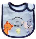 Promotional Cartoon Cat & Doggie Applique Printing Soft Cotton Terry Feeding Bibs
