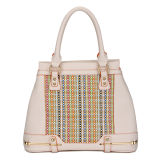 China Fashion Women Beige Woven Designer Handbags (MBLX033090)