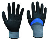 Work Glove of Blue Nitrile Fully Coating and Sandy Nitrile 3/4 Coated on Palm (N1572)