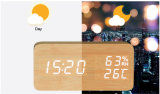 Wood LED Desk Clock with Temperature for Promotional Gift