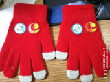 Custom Winter Acrylic Knit Gloves with Heat Transfer Print