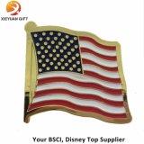 America Three Flag Soft Enamel Gold Lapel Pin Badge
