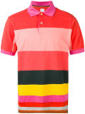 Men′s Multicoloured Cotton Stripe Panel Polo Shirt