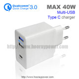 Us EU Plug 3 Port USB QC 3.0 Wall Charger Mobile Phone Accessories Type-C Wall Charger with 1 Year Warranty Home Charger