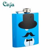 6oz Silk Print Mustache Stainless Steel Hip Flask