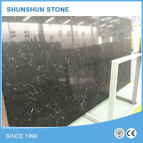 Black Sparkled Artificial Engineered Stone Slab for Countertop, Vanity Top