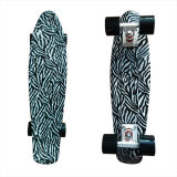 22inch PP Mini Skateboard Cruiser Complete Skateboards Banana Skateboard White Zebra Design -4