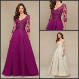 Long Sleeves Mother of The Bride Dress Lace Satin Bridal Evening Dress D3309