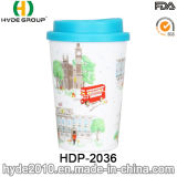 16oz Customized Double Wall Plastic Drinking Cup with Straw