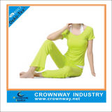 Wholesale Girls Neon Green Yoga Wear with Short Sleeve Tops