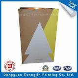 New Design Christmas Brown Kraft Paper Bag with Golden Lamination Inside