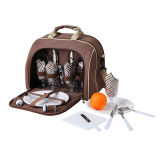 Customized 4 Person Shoulder Picnic Bag with Cutlery Set