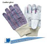 Cow Split Leather Knit Wrist Work Glove (Leather Glove-Safety Glove)