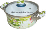 Colorfull Decor Enamel Casserole with Glass Lid