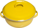 Casserole with Enmale Lid with Plain Coloured