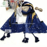 New Long Cotton Shawl Lady Fashion Scarf Printed with Tassel