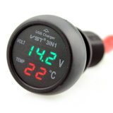 Multifunction Car Digital Voltmeter Thermometer USB Car Charger 3 In1