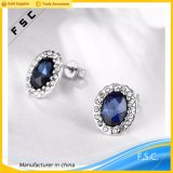Women Wholesale Top Design Blue Big Stone White Gold Earring