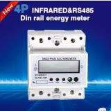 LCD 4p Single Phase Electronic Modbus Household DIN Rail Meter